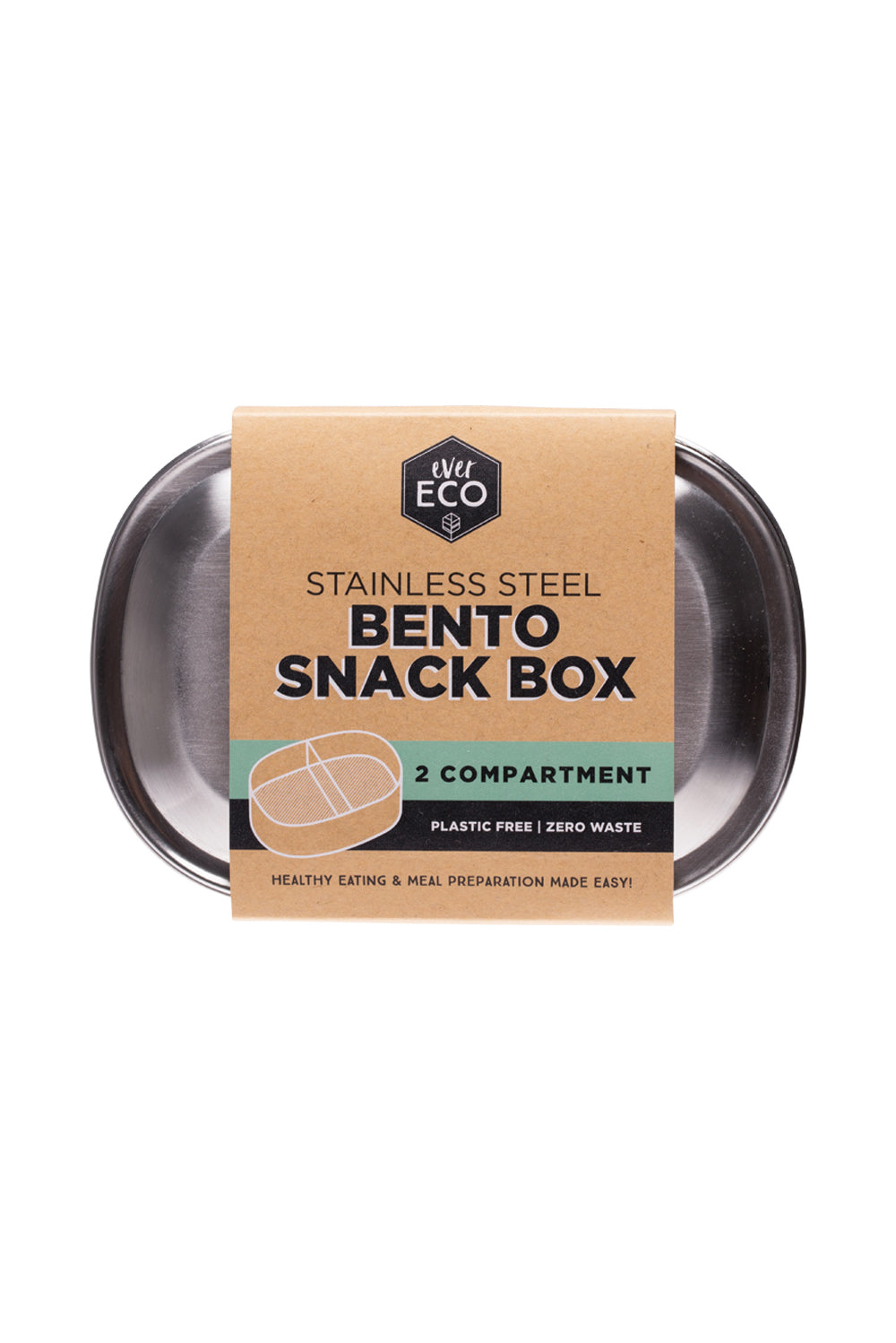 Ever Eco | Bento snack box 2 compartment | Plastic Free Living | Environmentally Friendly Homewares