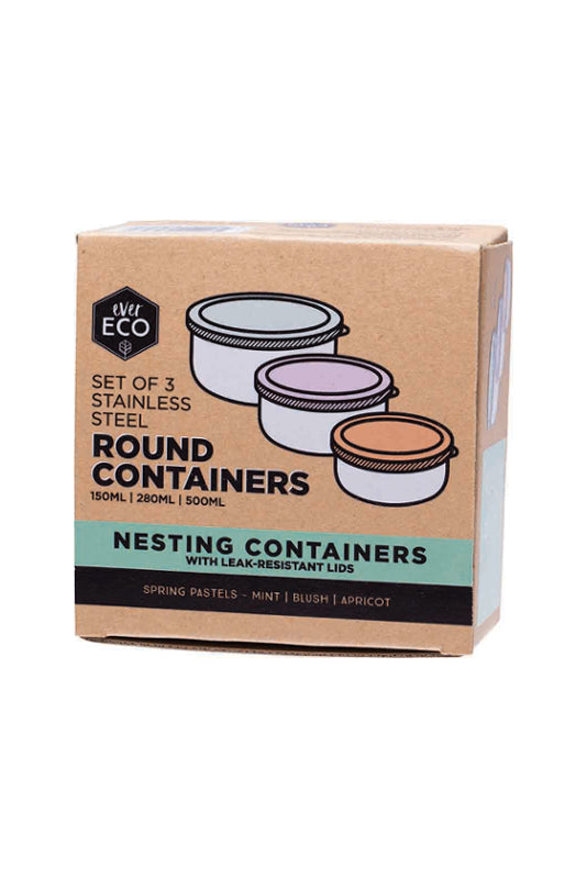 Ever Eco | Round nesting containers pastels 3 piece set | Plastic Free Living | Environmentally Friendly Homewares