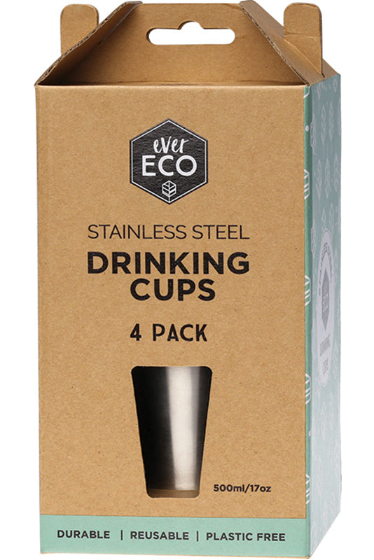 Ever Eco | Ever Eco Stainless steel drinking cups 500ml x 4 | Plastic Free Living | Environmentally Friendly Homewares