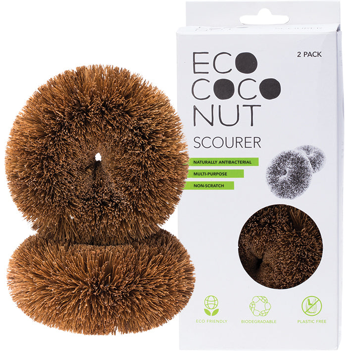 Ecococonut | Eco Coconut Twin pack scourer | Plastic Free Living | Environmentally Friendly Homewares