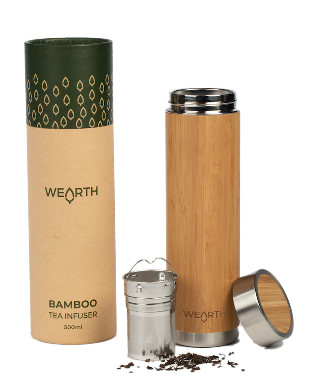 Wearth Bamboo tea tumbler with infuser - Plastic Free Living
