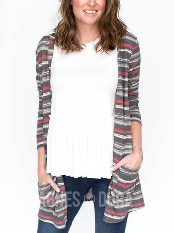 Agnes & Dora™ Essential Cardigan Black and Burgundy Stripe