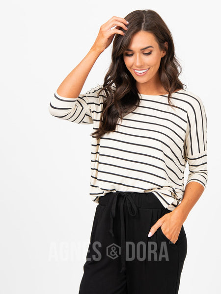 Agnes & Dora™ Dolman Tunic Cream and Black Stripe