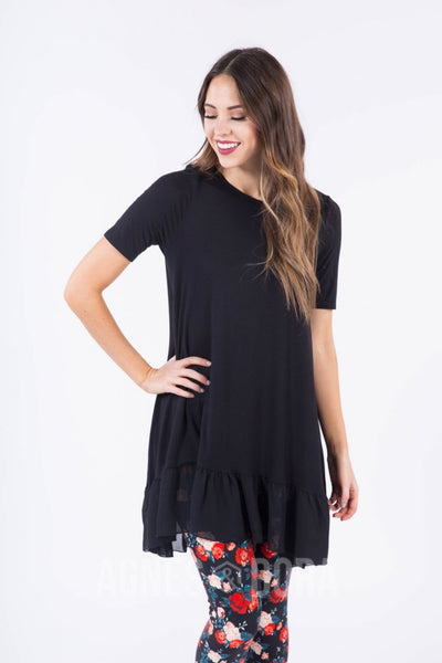 Agnes & Dora™ Chiffon Ruffle Tunic in Solid Black