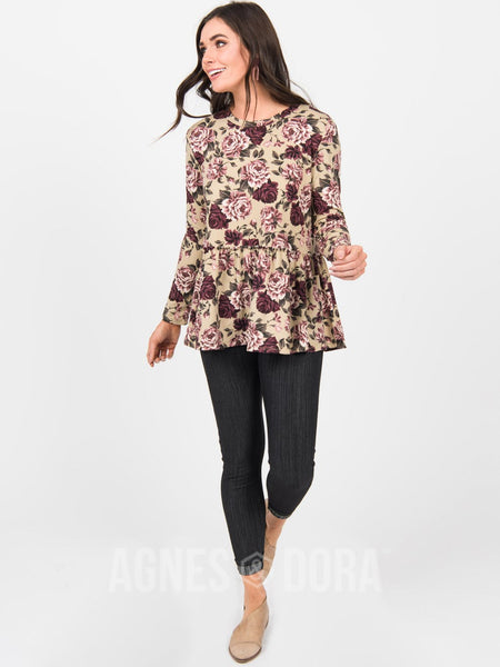 Agnes & Dora™ Relaxed Ruffle Tee Long Sleeve Taupe Floral