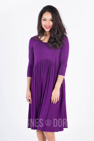 Agnes & Dora™ Muse Midi Dress in Plum