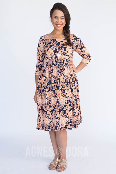 Agnes & Dora™ Muse Midi Dress I Got You Babe Floral Navy and Marigold