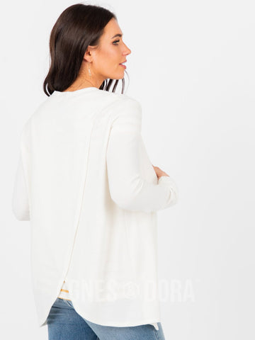 Agnes & Dora™ Cross Over Cardi Ivory