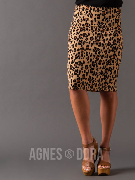 Agnes & Dora™ Pencil Skirt Taupe/Cognac/Animal