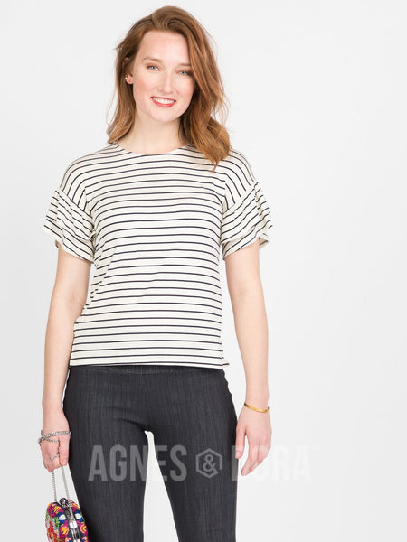 Agnes & Dora™ Frill Sleeve Top Ivory and Black Stripe