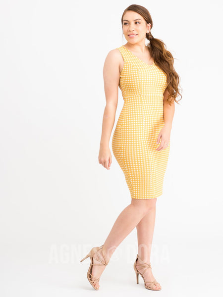 Agnes & Dora™ Pencil Dress Yellow Gingham