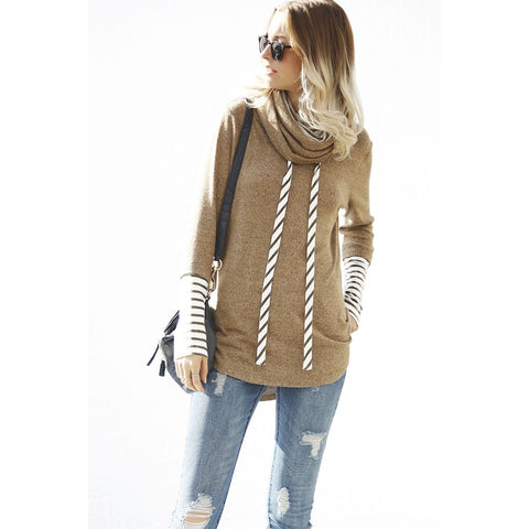 Double Layer Striped Cowl Top