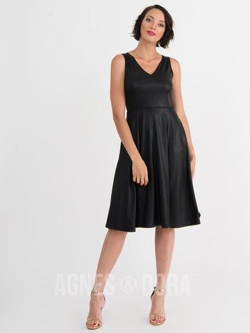 Agnes & Dora™ Fit & Flare Dress Faux Leather