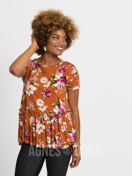 Agnes & Dora™ Relaxed Ruffle Tee Organic Girl Max Copper
