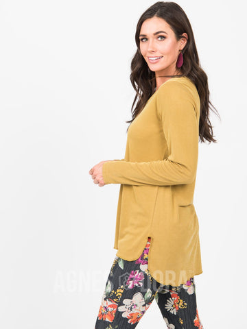 Agnes & Dora™ Vincent Curve Top Mustard - Mini Ribbed