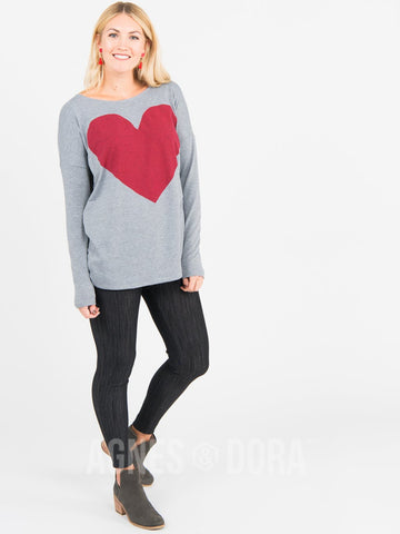 Agnes & Dora™ Urban Pullover Heather Gray with Heart