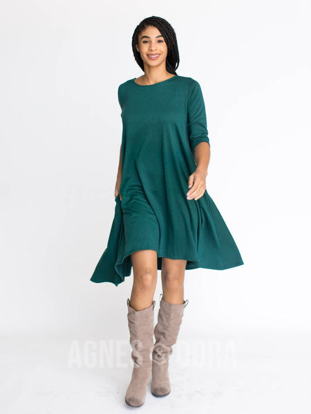 Agnes & Dora™ Sway Dress 3/4 Sleeve French Terry Forest