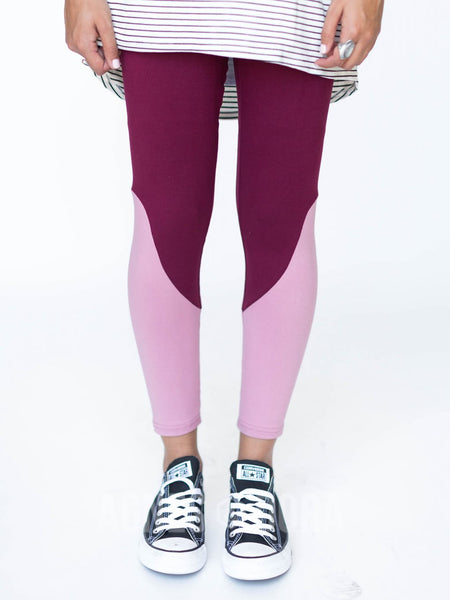 Agnes & Dora™ Leggings Dark Berry with Blush