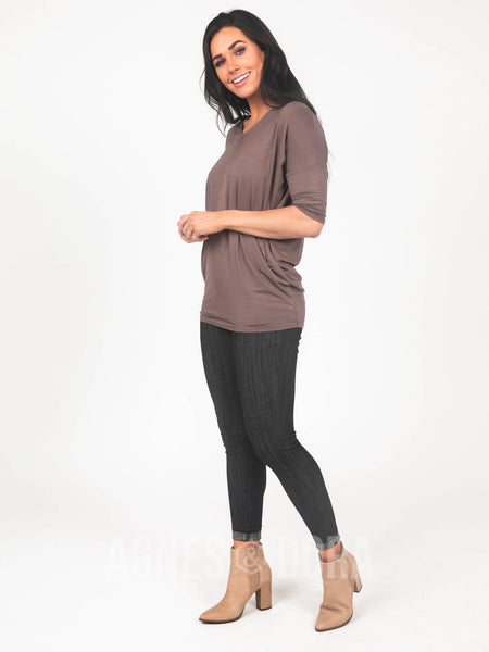 Agnes & Dora™ Dolman Tunic V-Neck New Brown
