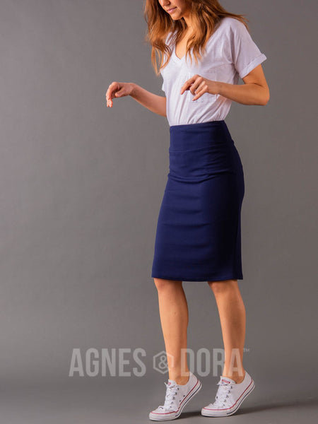 Agnes & Dora™ Pencil Skirt Navy