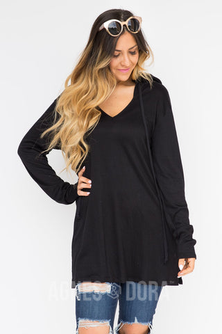 Agnes & Dora™ Knit Hooded Cover-Up Black