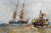 A paddle steamer tugging a sailing vessel into port - The Wallington Gallery
