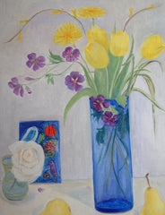 Blue Vase, Tulips and Chagall