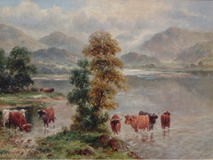 Highland Cattle At A Loch Shore