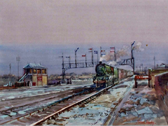 'Jubilee' Passing Derby Junction Signal Box, Winter.