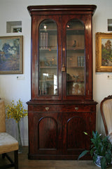 Victorian Mahogany Glazed Bookcase on Cupboard with Drawer