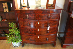 Regency Flame Mahogany Bow Fronted Chest of Drawers