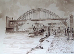 Busy Quayside, Boats and Bridges, Newcastle