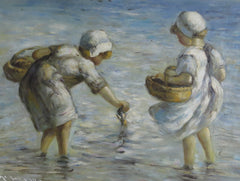 Girls playing in the sea