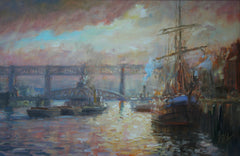 Tall Ship on the Tyne with Swing Bridge and High Level