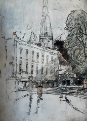 "St Mary's church,  Stoke Newington  10"" x 7""  Pencil and wash"