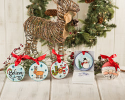 "Holiday Ornaments Package ""5"" Handpainted Ornaments (Believe, Joy, Santaface, Reindeer, Blue Snowman) - nolawatkins.com"