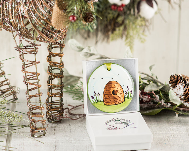 Bee Hive Handpainted Ornament - nolawatkins.com