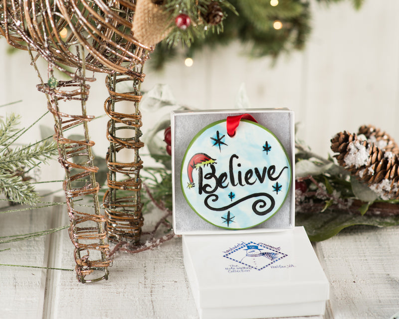 Believe Handpainted Ornament - nolawatkins.com