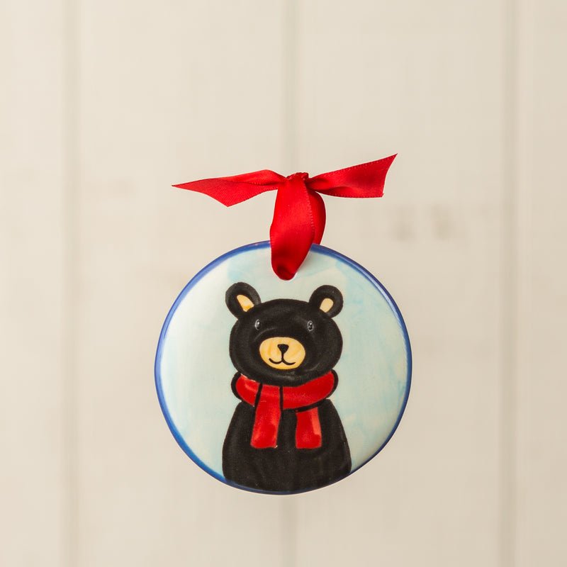 Black Bear Scarf Handpainted Personalized Ornament - nolawatkins.com