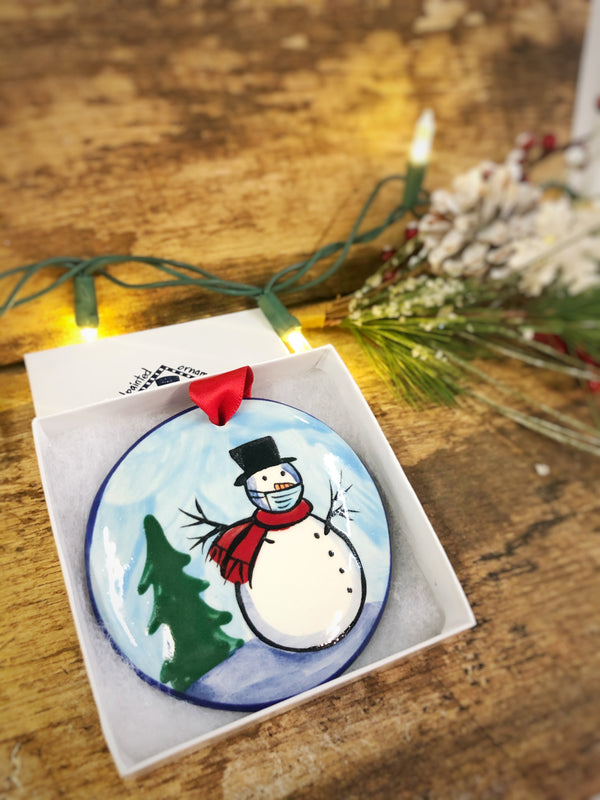 Snowman Blue w/ Mask COVID 2020 Handpainted Personalized Ornament - The Nola Watkins Collection