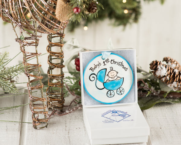 Blue Buggy Baby's 1st Christmas Handpainted Ornament - The Nola Watkins Collection