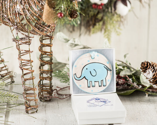 Blue Elephant Baby's 1st Christmas Handpainted Ornament - The Nola Watkins Collection