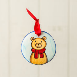 Brown Bear Light Brown Scarf Handpainted Personalized Ornament - nolawatkins.com