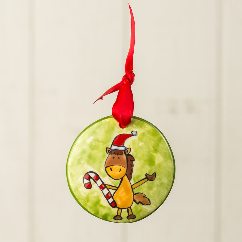 Candy Cane Horse Handpainted Personalized Ornament - nolawatkins.com