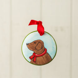 Chocolate Lab Profile Handpainted Personalized Ornament - nolawatkins.com