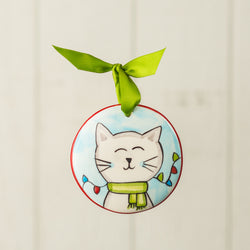 Christmas Cat Handpainted Personalized Ornament - nolawatkins.com