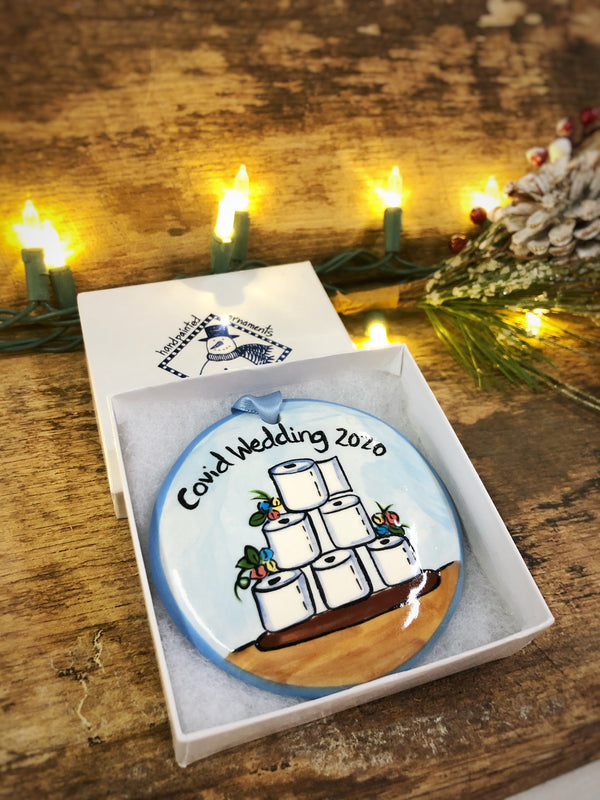 COVID Wedding Cake 2020 Handpainted Personalized Ornament - nolawatkins.com