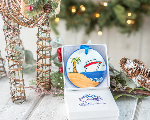 Cruise Ship Handpainted Ornament - nolawatkins.com