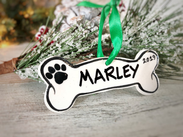 Personalized Dog Bone Handpainted Ornament - The Nola Watkins Collection