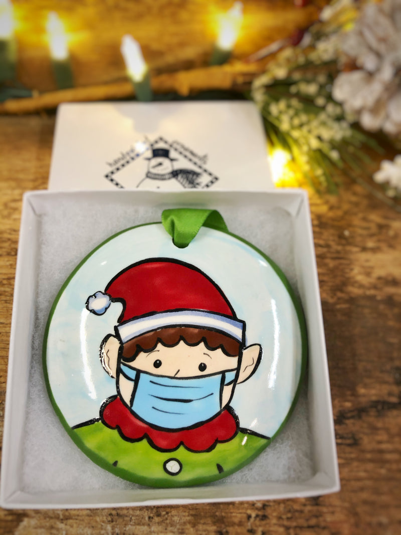 Elf w/ Mask COVID 2020 Handpainted Personalized Ornament - The Nola Watkins Collection
